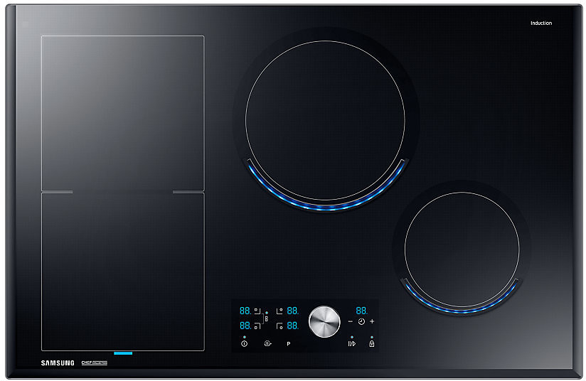 Samsung NZ84J9770EK/EF autarkes Virtual Flame Induktionskochfeld, 80 cm, flexible Zone links